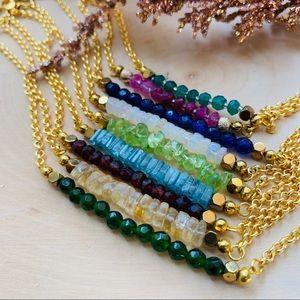 Birthstone Gemstone Bar Gold Bracelet Jewelry